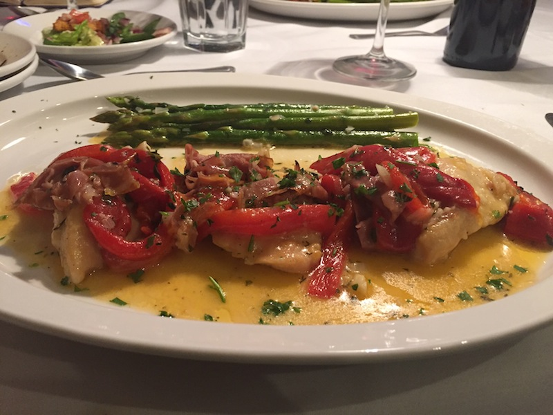Pollo Marcello includes a side of spaghetti or veggies for $19.