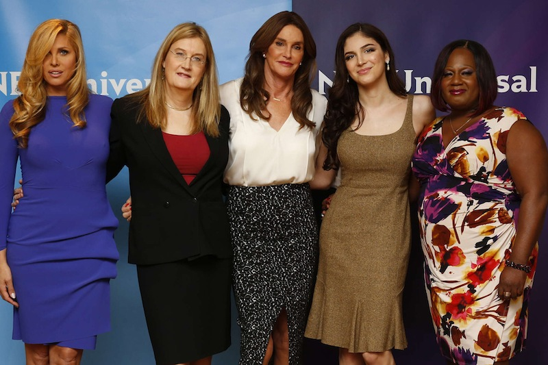 Caitlyn Jenner's TV entourage includes Haverford School alum Jennifer Finney Boylan (second from left). PHOTO CREDIT PAUL DRINKWATER/NBC UNIVERSAL