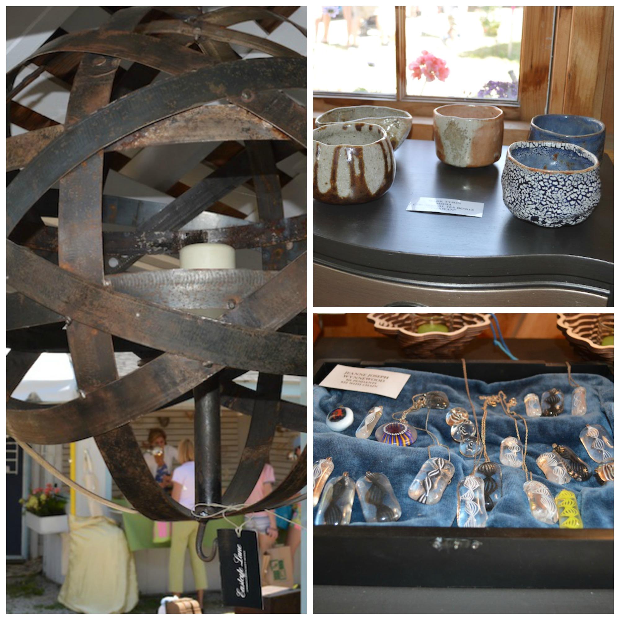 rtisan finds at Eastcote Lane: Wynnewood industrial artist Paul Nelson's bourbon-barrel-strap lanterns, Media potter Mark Tyson's tea bowls and pendants by Jeanne Joseph.