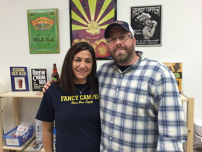 Owwer Corey Ross and his wife Minday at Saturday's grand opening of Fancy Camper Home Brew.