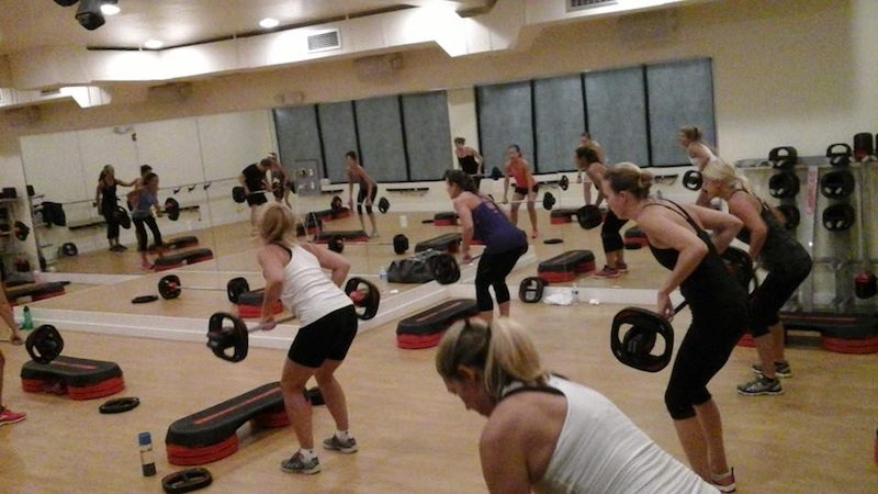 A body pump class at the now-defunct Fit Fire Studios in Devon.