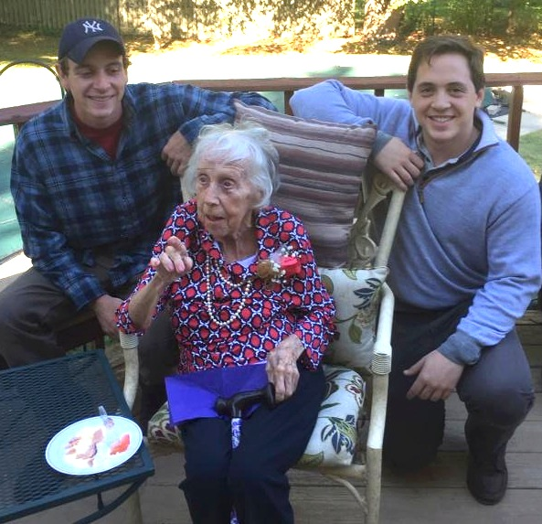 Ginny McCarty celebrates her 100th with grandsons Tucker and Sam.