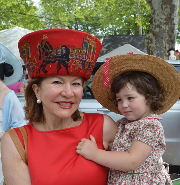Grandmother of two, Gordana Loncar wrapped an equestrian-themed Hermes scarf around a hat form fashioned by her daughter, Milica Schiavio.