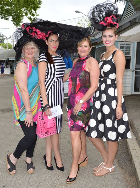 Susan at Ladies Day 2015 with Studio H collaborator Heather Heyman (left) and Polka Dots models Megan Diloia and Jenny Larkin.