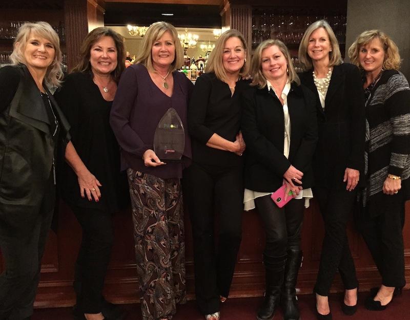 The Polka Dots posse at Thursday's awards dinner at the Desmond Hotel: salon owner Heather Heyman (Studio H Color & Design Group), Sheila Wagner, honoree Susan Randels, Karen Denney, Courtney Davis and Lori Horning.