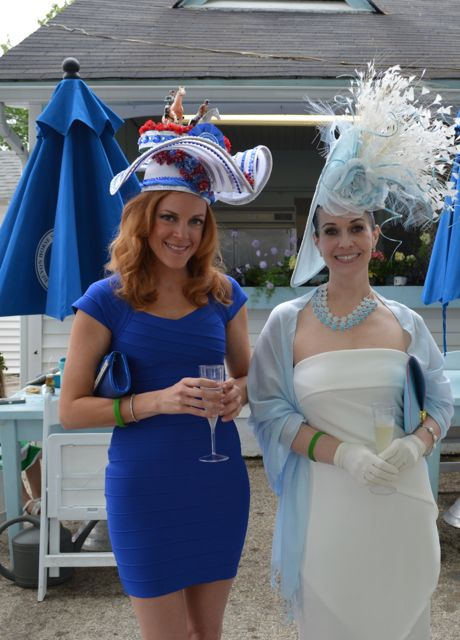 former hat champs Robin Sweet and Tiffany Arey turned out in their signature styles: whimsical horsey for Robin and drop-dead elegant for Tiffany. Both make their own hats each year. Tiffany plans to make it a business.  The explosion of white feathers is Tiffany's take on a champagne bottle uncorking in celebration of Devon's tradition of excellence.