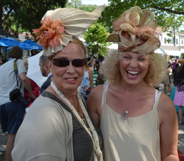 Unionville milliner Janet Sidewater wears one of her own sinemay and abaca fascinators; she also conjured the sinemay and pheasant fowl topper worn by shoemaker Michele Harris (who's soon to launch Bespoke Bridal Shoes).