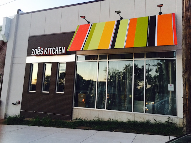 A Zoe's Kitchen sign went up last week. The fast-casual chain is now hiring and hopes to open early next month.
