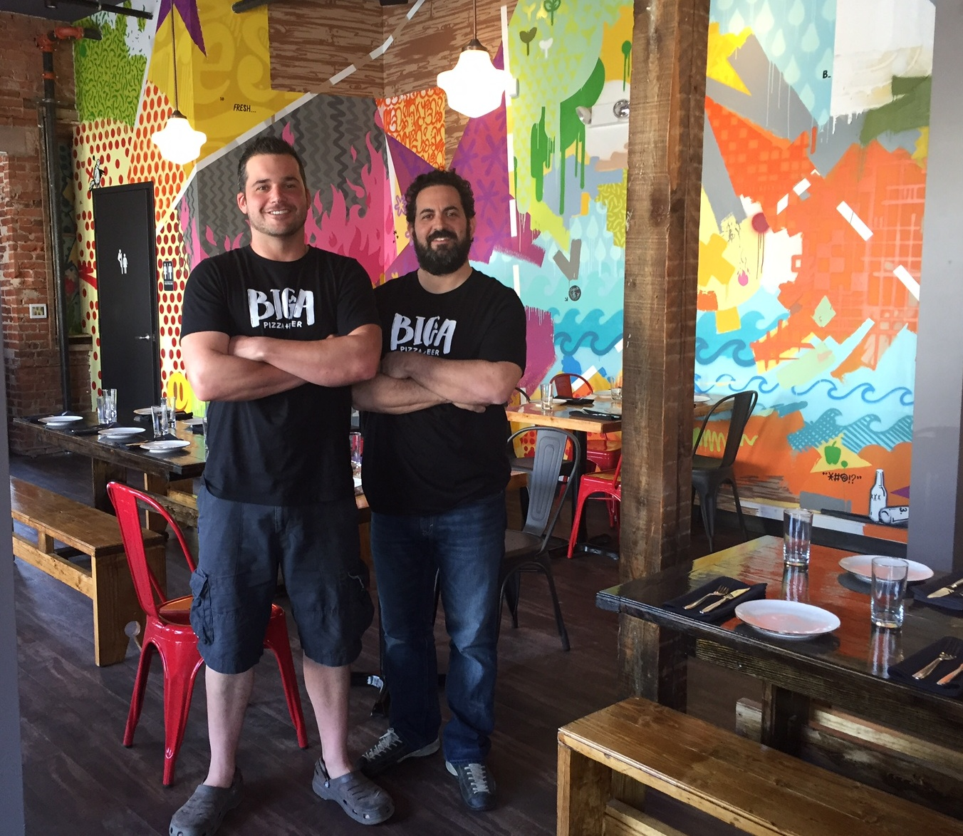 Top chefs at the new Biga: former Alba sous chef Steve Fulmer and Alba chef-owner Sean Weinberg. The space is industrial/grunge cool: exposed brick walls, hand-made trestle tables and a killer mural by Philly artist Ntel.