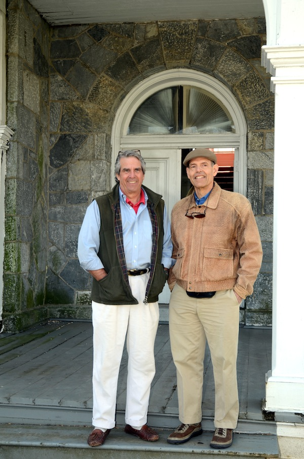 Harriton classmates Bill Scudder and Lee Tabas at Loch Aerie. Scudder volunteers with the county historical society, and Lee Tabas' family has owned the estate since 1967.