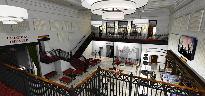 A rendering of the spacious new lobby, relocated to the bank building.