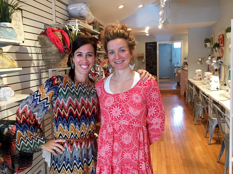 Pals and space sharers Dina Previti and Paige Sullivan. The store has six Singer sewing machines.