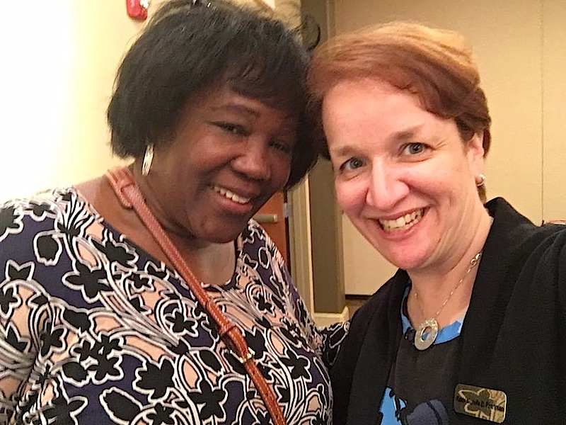 Anita Friday and Rabbi Michelle Pearlman at the racial justice town hall at Beth Chaim in Malvern.