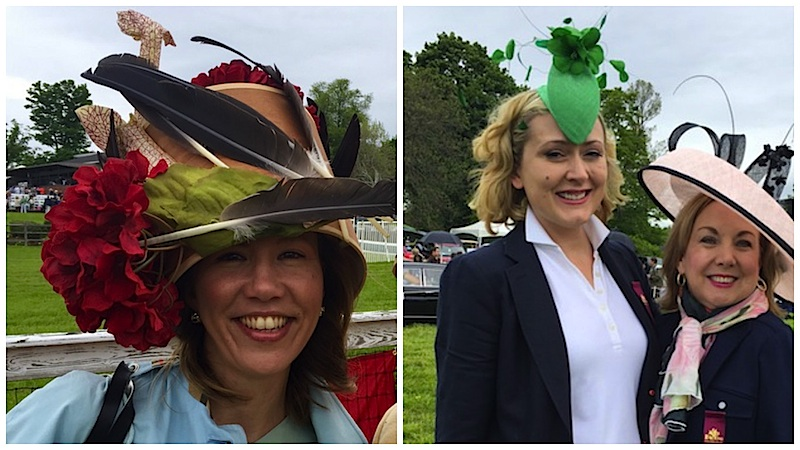 Spotted at Saturday's Radnor Races: milliners Milica Schiavio (left) and Zoya Egan along with Brigid McGrath Stasen, who's wearing a Zoya creation.