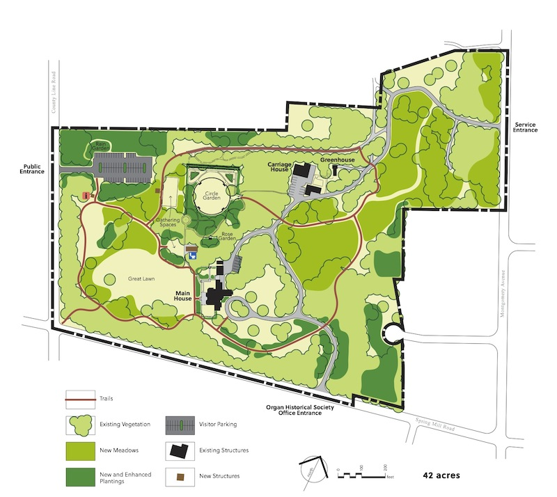 Natural Lands Trust's site plan for the future Stoneleigh, 42 acres to be preserved as green space in perpetuity, thanks to the Haas children.