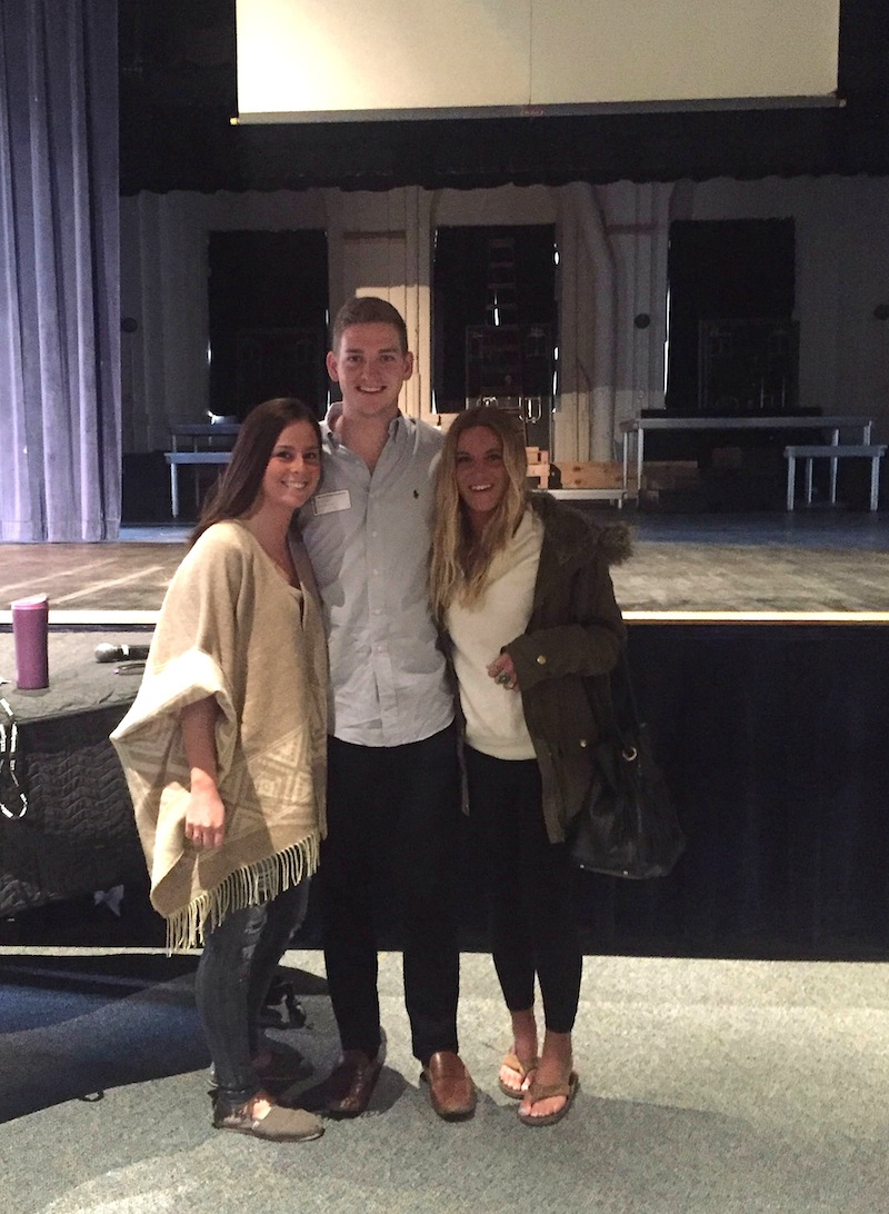 Drew poses with Merion Mercy Academy 2012 alums Bonnie McShane and Kelsey Dougherty after his April 7 speech at the school, his first visit to MMA on behalf of Minding Your Mind.