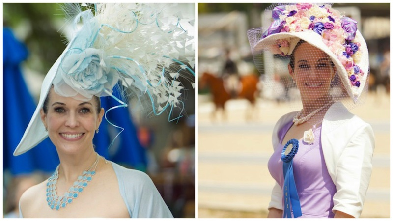 Tiffany's two favorite Ladies Day creations - 2015 and 2013. (Photos by Brenda Carpenter)