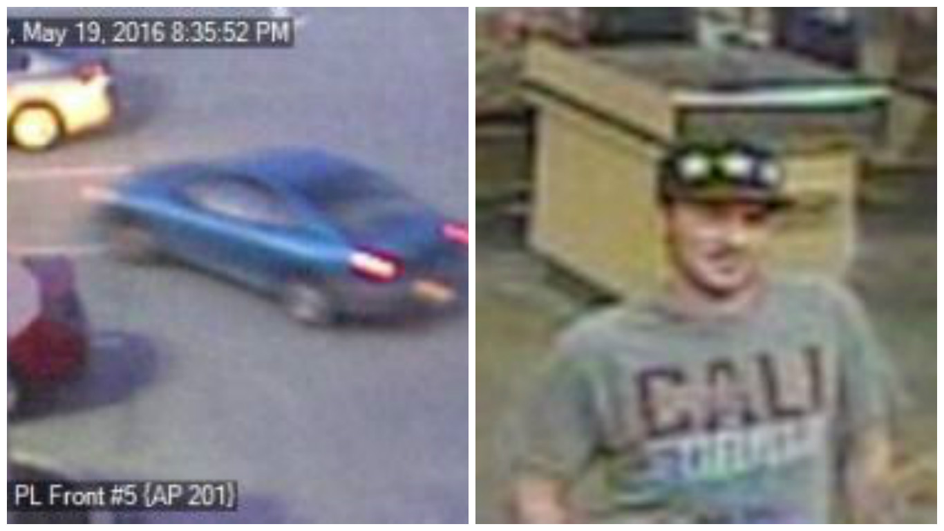 Security camera photos of the robbers' car and a suspect at the Malvern Wegmans.