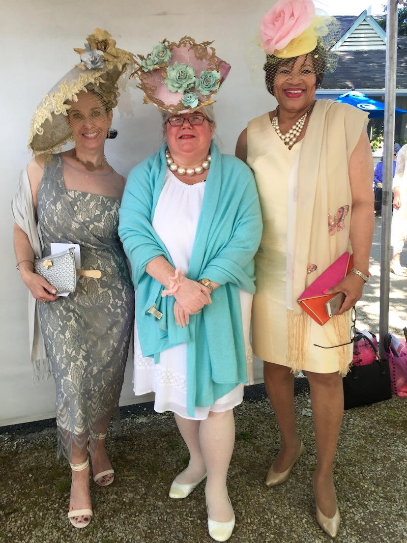 """A trio in Tiffany Arey Millinery creations: Tiffany herself, """"Most Fascinating"""" winner Michelle Leonard (one of the Main Line's premier hat ladies, btw) and Pat Nogar, whose fascinator featured a 35-year-old rose once worn by her mother."""
