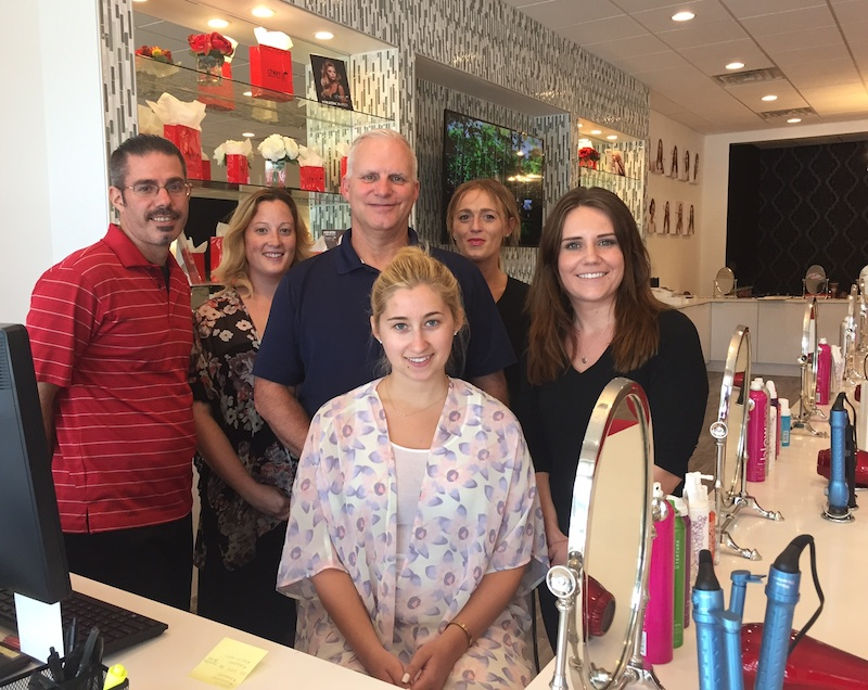 The gang at the new Cherry Blow Dry Bar: Steve Costa, Katie Marucci, owner Bob Ferry, Carliss Egan, Erin Morgan and Casey Reeder.