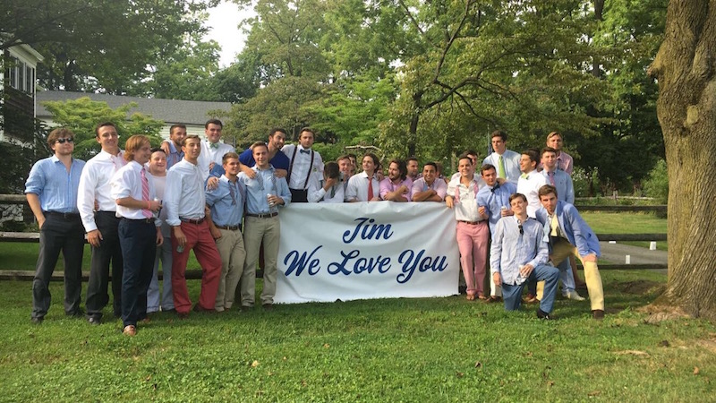 Buddies from Malvern Prep and St. Joe's gathered at the Klinges home after Jim's funeral August 31. The group hopes to form a non-profit to raise money for leukemia research in Jim's memory.