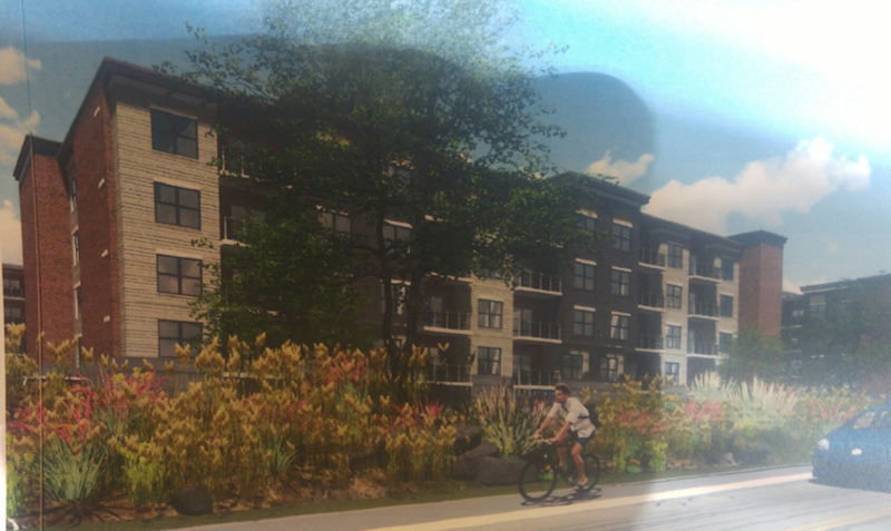 A rendering of view of the new Station Square apartments from E. Central Ave.