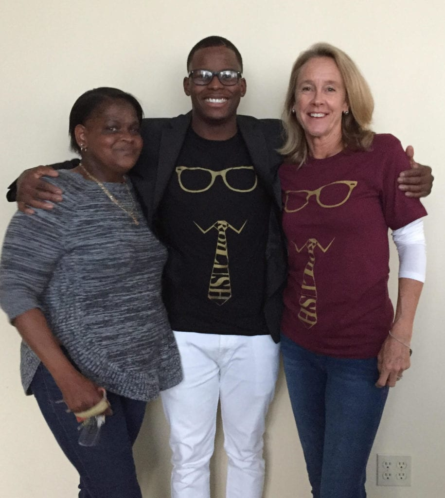 LeRoi and his two moms , Dawn Leviston and Barb Herzlich, at his RoiAlty concert.