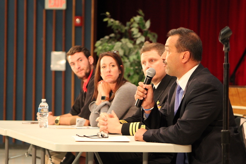 Discussing youth addiction at T/E Middle School were (l to r) recent Stoga grad Nicolas Portonova, in recovery for nearly a year; Christina Madeira, VP of Hospital Operations for Recovery Centers of America, Trefyffrin Police Public Information Officer Todd Bereda and Dr. Matthew Febbo, pharamacist with US Public Health Service.