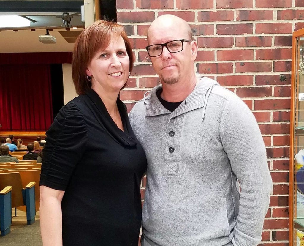 Mark Wahlberg's brother Jim and addiction activist mom Cathy Messina at Conestoga.