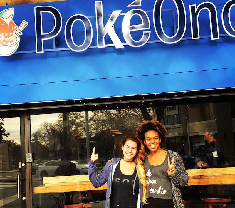 Maddie and Sabine from nearby SoulCycle give the new PokeOno the thumbs up.