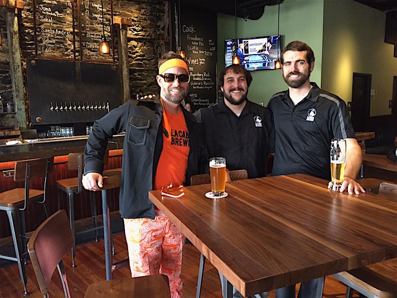 "La Cabra's colorful ""good will ambassador"" Vern Burling, head brewer/owner Dan Popernack and GM Chuck Golder."