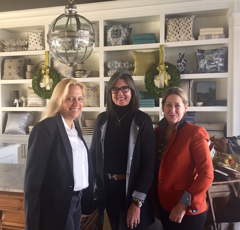 Kingshaven CEO Lauren Wylonis, VP and Director of Design Mimi Boston Johnson and store manager Lisa Devine at the new KingsHaven furniture and home décor store in Paoli.