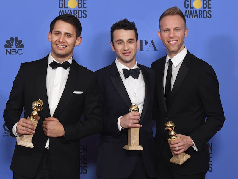 Golden boys Benj Pasek, Justin Hurwitz and Justin Paul.
