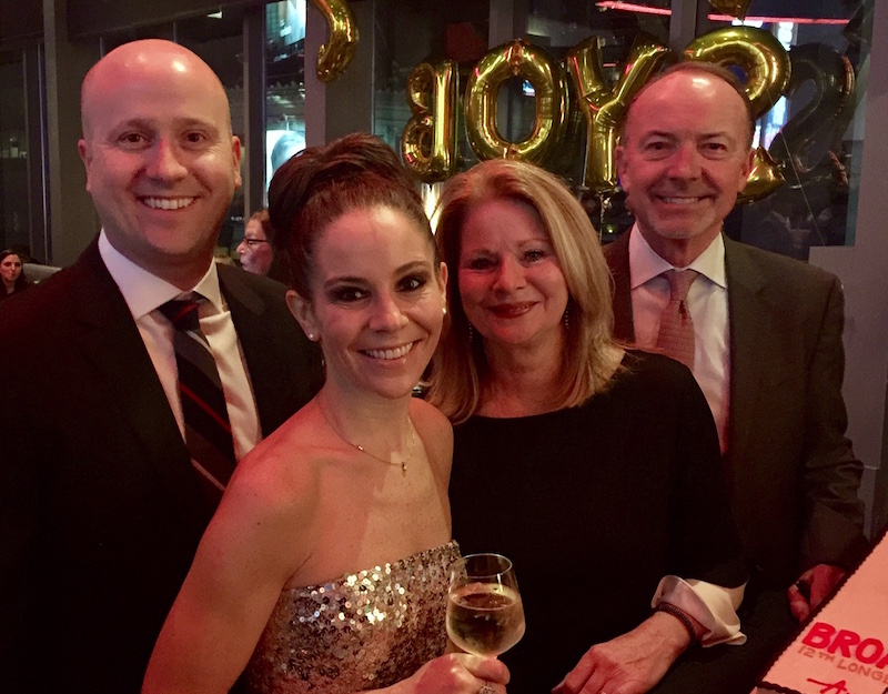Broadway star/Conestoga alum Sara Schmidt, her brother Michael, parents Julie and Dan of Berwyn, at Sunday's Broadway finale of Jersey Boys.