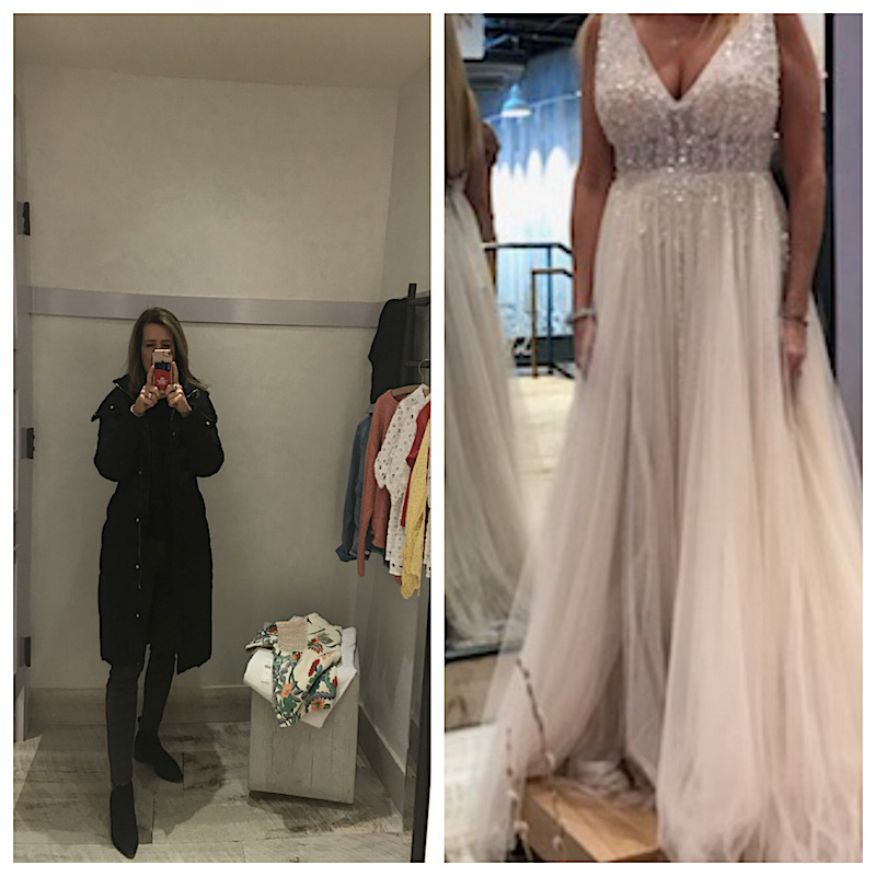 b709fd7f1be4 (Left) The mirror reflection at the Devon Anthropologie dressing room shows  subtly elongated and slimmer lower torso and legs. (Right) A bridal shopper  sent ...